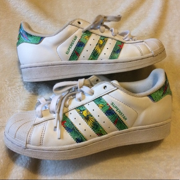 size 40 bf95b b8871 Tropical Print Adidas Superstar Sneakers